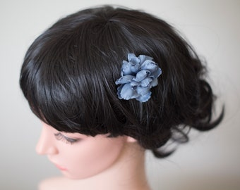 Blue hair flower   Silk hair flower   Blue flower hair pin   Fabric flower hair accessory   Something blue for bride   Blue hairpin