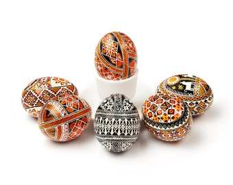 Set Of 6 Traditional Pysanka eggs - Blown Eggs - Hand Painted - Amazing Home Decor or Gift FAST Delivery to USA