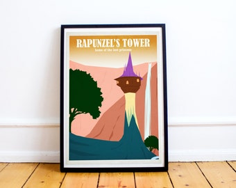 Rapunzels Tower - Tangled - Disney Travel Poster - Poster Print - Disney Art - Wall Art Poster Print (Available In Many Sizes)