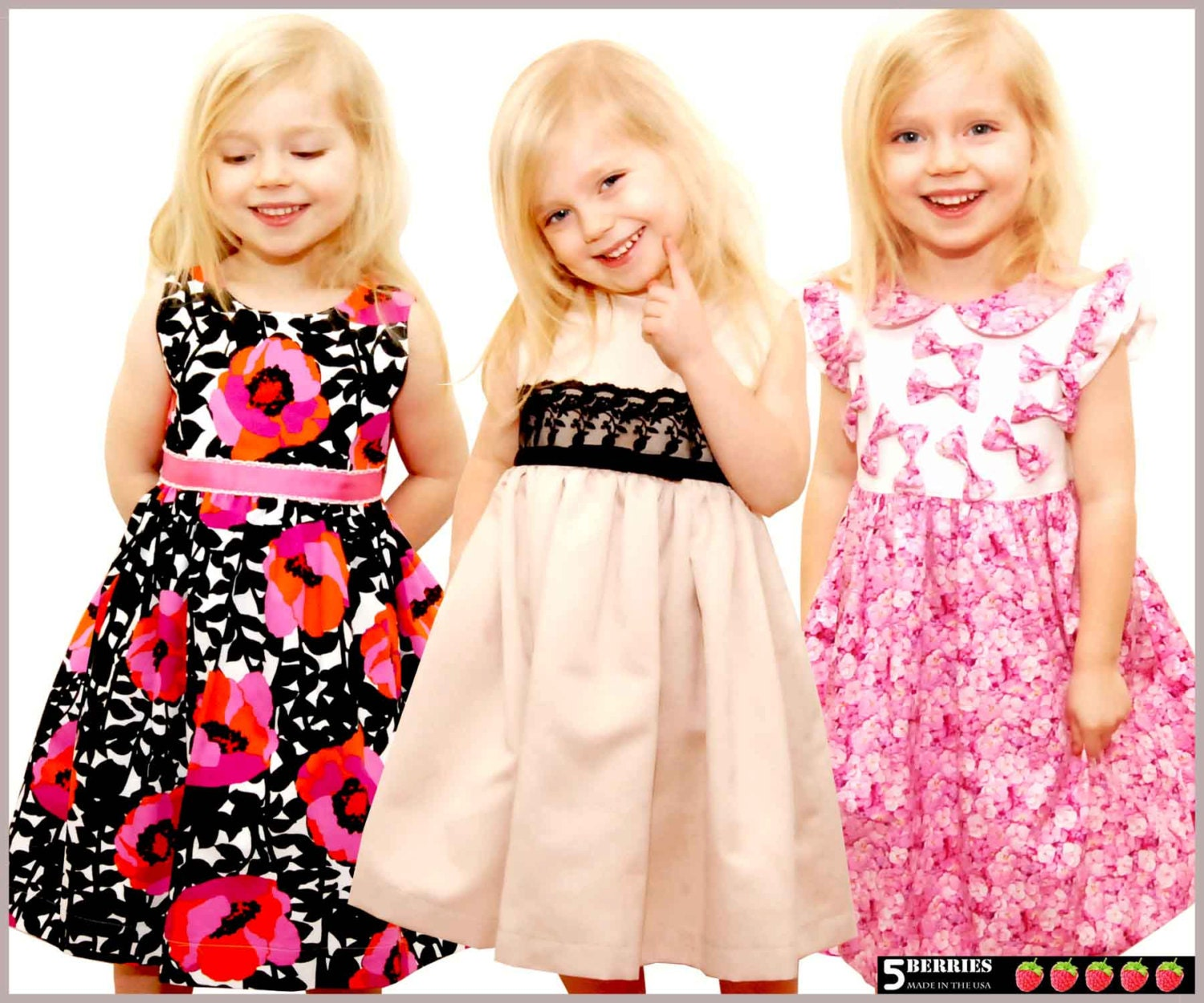 5 Berries Girls Dress Patterns + Free Mother-Daughter Apron Pattern ...