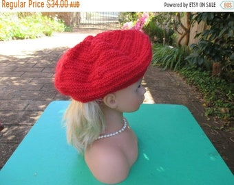 ON SALE Handmade Knitted Red Beret for a Girl Aged 8 - 12 years