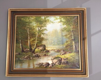 Beautiful Realistic Painted Artist Signed Original Oil Painting in High Quality Frame
