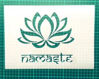 Lotus Flower Namaste STENCIL for interior decor / Yoga stencil