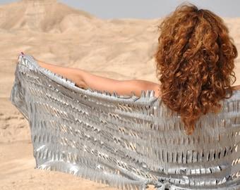Silver shawl, Festival clothing, Burning man costume, Festival costume, Burning man clothing woman, Silver scarf, Burn dressing, Rave Outfit
