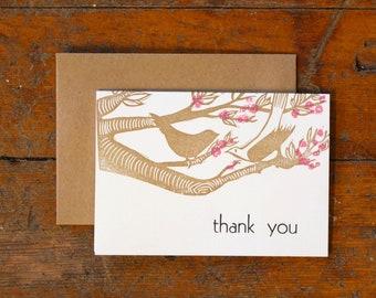 Thank you cherry blossoms letterpress linocut card