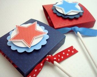 Stars and Stripes Lollipop patriotique faveurs, ensemble de dix