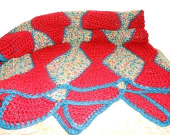 Vintage Afghan Blanket, Maroon,  Blue, Throw Blanket,  Lap Blanket, Large Blanket