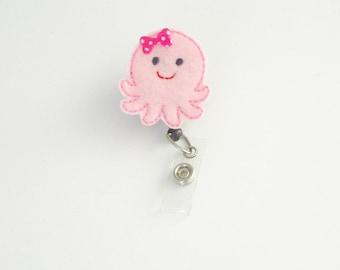 Octopus Nurse Badge Reel   Felt Badge Reel   Octopus Planner Clip   Nurse Gift   ID Holder    Retractable   Badge Clip   Pediatric   Feltie