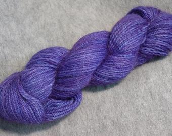 Hand Dyed Alpaca Yarn in Amethyst - Sport Wt 250 yds