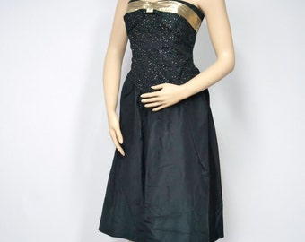 Vintage Dress Little Black Dress Prom Dress Strapless Formal 1980's Party Dress Short Black Dress Tea Length Cocktail Clubbing Dress Size 7