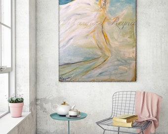 "Mermaid Guardian Angel - Neutral Abstract Art Print from Original Acrylic Painting - ""Tranquility"""