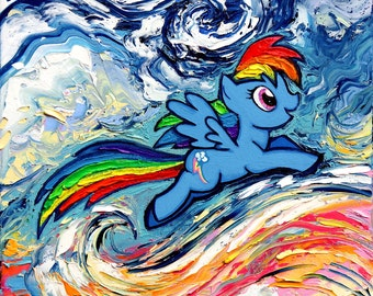 My Little Pony Art CANVAS print Rainbow Dash van Gogh Never Saw Cloudsvale Aja 8x8, 10x10, 12x12, 16x16, 20x20, 24x24, 30x30 choose