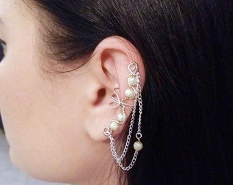 Silver Plated Ear Cuff Champagne moon beads Silver Ear Wrap
