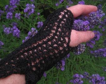 Black crochet  fingerless gloves,formal gloves,goth gloves,steampunk gloves, festival fashion,teenagers gloves,prom night,summer gloves