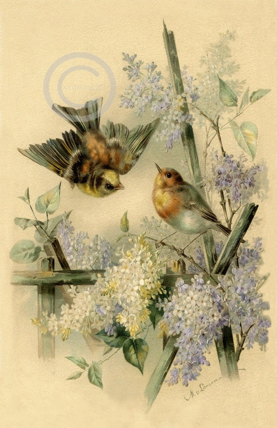 Victorian Birds and Flowers Print Lavender Lilac flowers