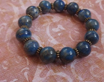 Marbled Lapis Lazuli Blue Gemstone Stretch Bracelet with Antiqued Gold Plated Brass Accents