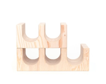 Wine Rack // Wooden Wine Rack // Decorative Tinder Block // Cinder Block Replica // Vintage Replica // Wood Block