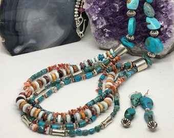 Turquoise and Spiny Oyster Necklace & Earrings