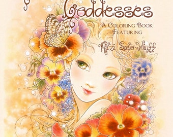 Fantasy Art Coloring Book with 19 Images - Gardens & Goddesses - Detailed Coloring Book for Grownups - Art by Mitzi Sato-Wiuff
