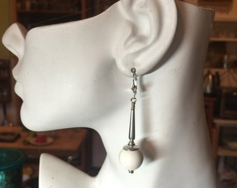 Ivory and Sterling Silver Earrings