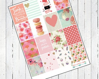 Coral Floral Stickers- For Erin Condren