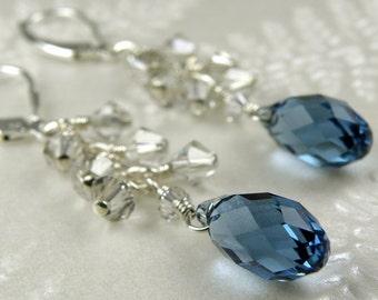 Sapphire Blue Crystal Earrings, Sterling Silver, Swarovski Cluster, Dangle Bridesmaid Jewelry, Wedding Bridal Jewelry, September Birthday