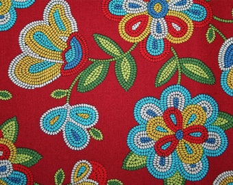 Beaded fabric coupon floral Horn eye 25 x 50 cm