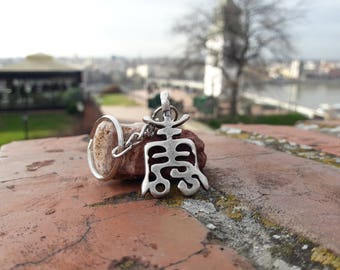 Chinese Symbols Longevity necklace keychain,Pictogram of long life,SHOU Chinese long life symbol pendant,Luck necklace,Chinese charm jewelry