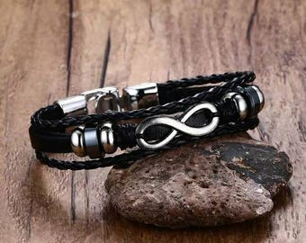 Leather and stainless steel cord bracelet. 8 inches