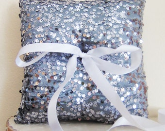 Charcoal Sequin Ring Bearer Pillow, Charcoal Ring Bearer Pillow, Charcoal Wedding Decor, Charcoal Wedding, Charcoal Ring Pillow GLAMOUR