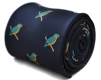 Navy tie with kingfisher design with signature floral design to the rear by Frederick Thomas FT1790