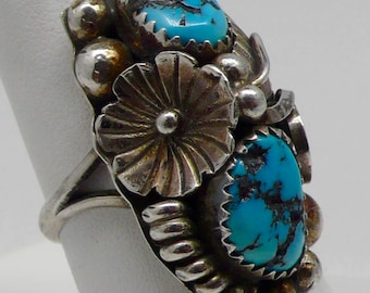 Vintage Native American Max Calabaza Turquoise & Sterling Silver Southwest Ring