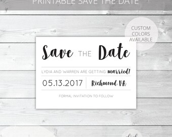 Printable Save the Date | Classic | Lydia Collection | Wedding Printable | Custom Colors Available