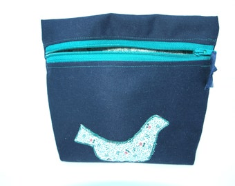 Zippered pouch, with applique. Nail polish bag, make-up bag