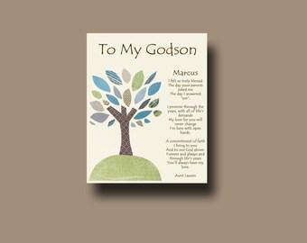 Godson gift - Gift for Godson - Personalized gift for Godson - Gift from Godmother, Gift From Godparents,  Keepsake  - TREE