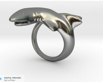 Bruce the Shark Silver Ring