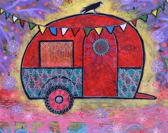 Raven Teardrop Trailer Canvas Print. Hippy Camper Painting. Colorful Childrens Room Whimsical Art. Dream a Little Dream of You Lindy Gaskill