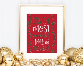 It's The Most Wonderful Time Of The Year | Christmas Decor | Downloadable Print | Instant Download | Gallery Wall | Printable