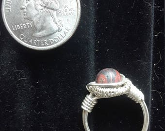 Red and Black Lace Agate and Solid Sterling Silver Wirewrap Ring - Infused with Reiki Energy!
