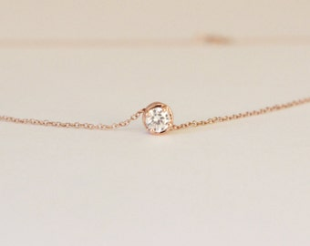 Tiny Solitaire Diamond Necklace, Rose gold diamond necklace, delicate necklace, bridesmaid gift, tiny CZ necklace, everyday necklace.