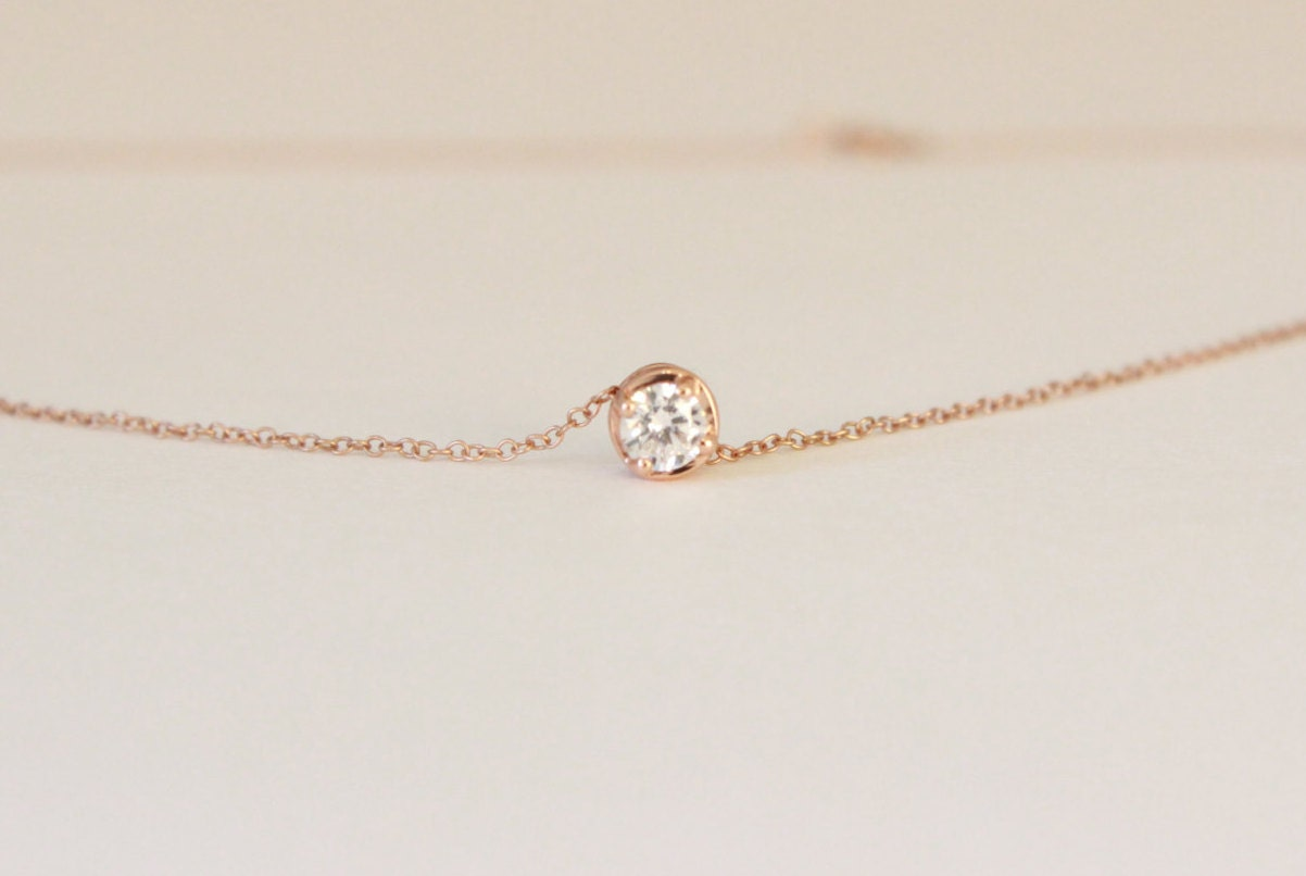 Tiny solitaire diamond necklace rose gold diamond necklace zoom aloadofball Image collections