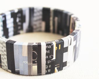 Classic newpaper bracelet • Contemporary jewelry • Journalist gift • Eco friendly jewelry • Recycled bracelet • Mod jewelry • Creative gift