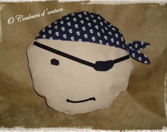Cushion pirate head, child blanket, Christmas gift, birth, room decoration