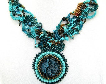 Freeform peyote necklace, Unique gift for women Teal Turquoise necklace Statement jewelry Beaded necklace