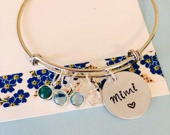 Personalized Grandma Bracelet, Silver Bangle Bracelet, Silver Mimi Bracelet, Grandma Bracelet Family   Bracelet, Personalized Bracelet,