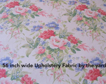 Shabby Chic Fabric - 1 Yard Floral Upholstery - 56 wide fabrics - Interior Designer Fabrics on Sale
