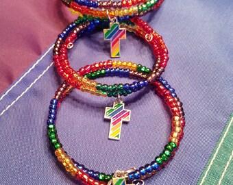 GAY PRIDE Rainbow beaded bracelet with rainbow cross