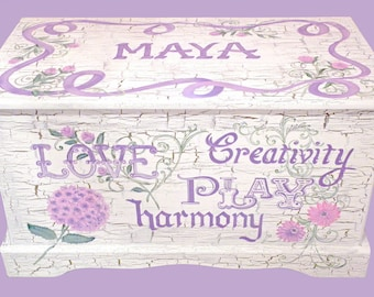 Custom Designed SHABBY CHIC Toy Chest with inspirational words, kids furniture, hand-made, hand painted wooden chest