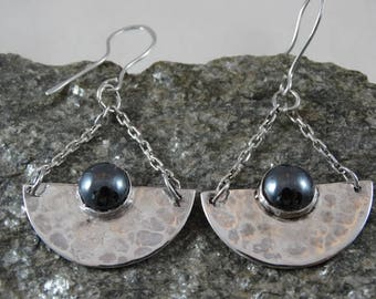 Stampted silver and Hematite earrings