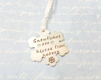 Snowflakes are kisses from heaven Hand stamped Christmas Tree ornament keepsake